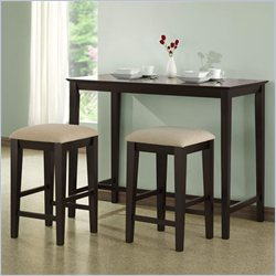Monarch 3 Piece Gathering Table Set in Cappuccino