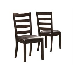 Brown Leather-Look Dining Chair in Cappuccino (Set of 2)
