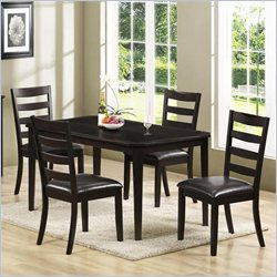 Monarch 5 Piece Cherry Veneer Rectangular Dining Table Set in Cappuccino