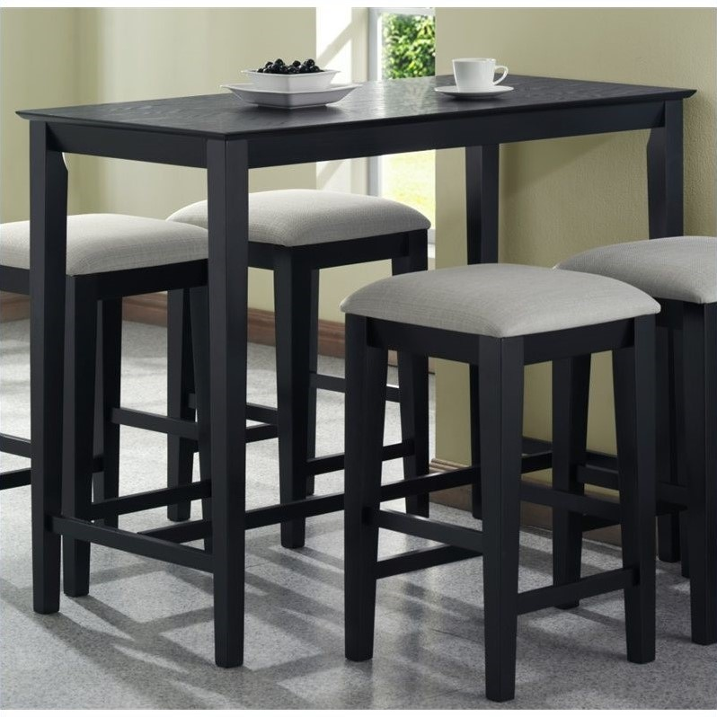Stanton Counter Height Dining Table In Black: Monarch Counter Height Kitchen Dining Table In Black Grain