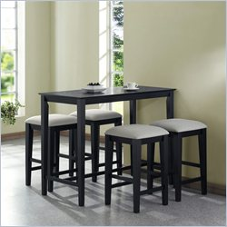 Monarch 5 Piece Gathering Height Dining Set in Black