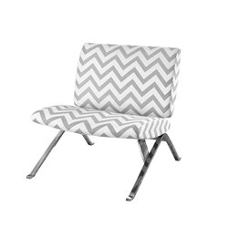 Chevron Fabric Accent Chair with Chrome Metal in Grey