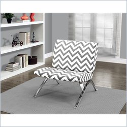 Monarch Chevron Fabric Accent Chair with Chrome Metal in Grey