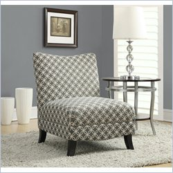 Monarch Circular Fabric Accent Slipper Chair in Gray Geometric Pattern