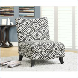 Monarch Abstract Fabric Slipper Chair in Beige Geometric Pattern