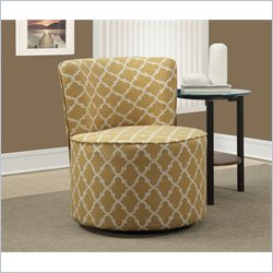 Monarch Lantern Fabric Accent Chair with Swivel Base in Gold