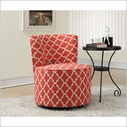 Monarch Lantern Fabric Accent Chair with Swivel Base in Coral