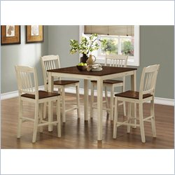 Monarch 5 Piece Counter Height Dining Set in Antique White and Walnut