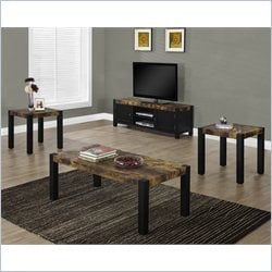 3 Piece Coffee Table Set in Dark Black