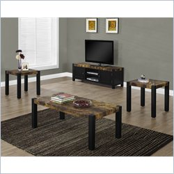 Monarch 3 Piece Coffee Table Set in Dark Black