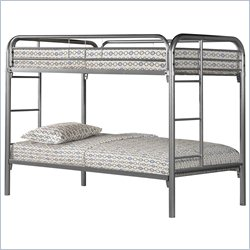Monarch Twin Over Twin Bunk Bed in Silver