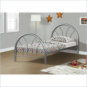 Twin Metal Bed Frame in Silver