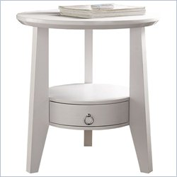 Monarch Accent Table in White with Drawer