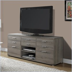 Monarch TV Console in Dark Taupe with 8 Drawers