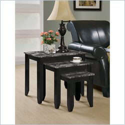 Monarch 3 Pieces Nesting Table Set in Black and Gray