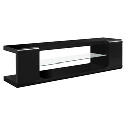 Monarch 60 inch TV Console in Glossy Black with Tempered Glass