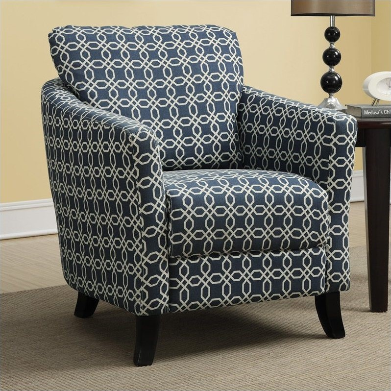 Curved back accent chair in dark blue i 8004 - Blue accent chairs for living room ...