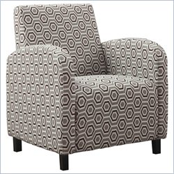 Fabric Accent Club Arm Chair in Gray and Brown