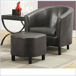 Monarch Faux Leather Accent Club Barrel Arm Chair and Ottoman in Gray