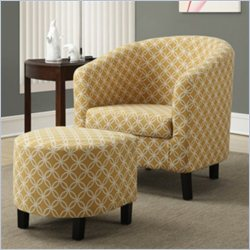Monarch Upholstered  Accent Club Arm Chair and Ottoman in Yellow