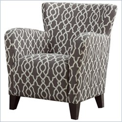 Monarch Fabric Club Chair in Brown Geometric Pattern