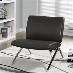 Monarch Modern Accent Chair in Charcoal Gray Faux Leather and Chrome