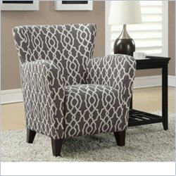 Monarch Fabric Club Chair in Gray Geometric Pattern