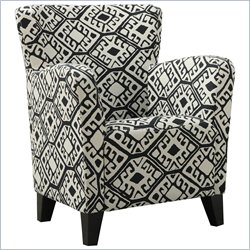 Monarch Fabric Club Chair in Black Geometric Pattern