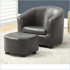 Kids Chair and Ottoman Set in Charcoal Gray Faux Leather