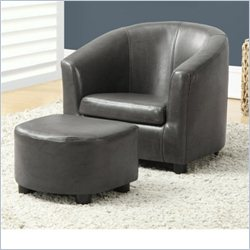 Monarch 2 Piece Juvenile Chair and Ottoman in Charcoal Gray