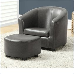 Monarch Kids Chair and Ottoman Set in Charcoal Gray Faux Leather