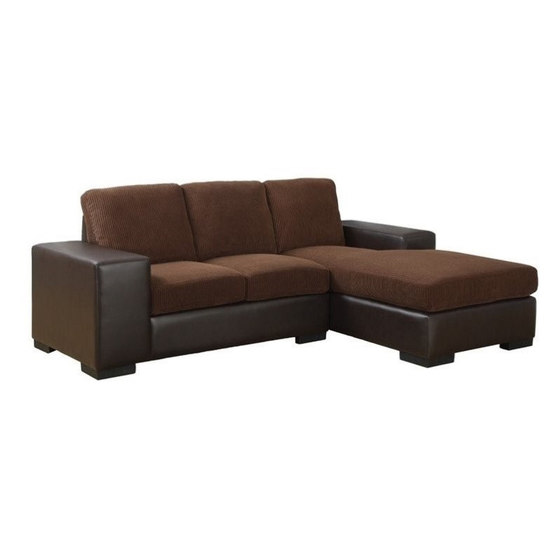 Corduroy And Leather Sofa Lounger In Brown