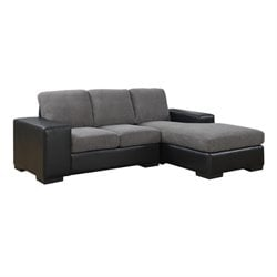 and Leather Sofa Lounger in Charcoal Gray