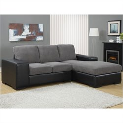 Monarch Bonded Leather Sofa Lounger in Charcoal Gray