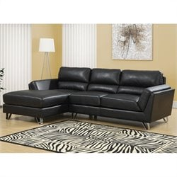 Monarch Bonded Leather Sofa Lounger in Black