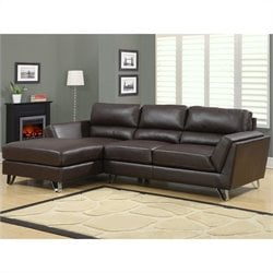 Leather Sofa Lounger in Dark Brown