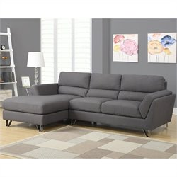 Monarch Sofa Lounger in Charcoal Gray with Chrome Feet