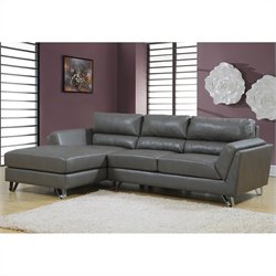 Monarch Bonded Leather Sofa Lounger in Charcoal Gray with Padded Seat