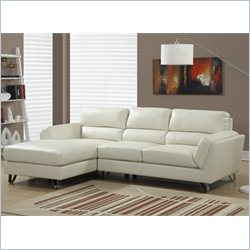 Monarch Bonded Leather Sofa Lounger in Ivory