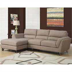 Monarch Linen Sofa Lounger in Brown