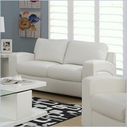 Monarch Bonded Leather Love Seat in White