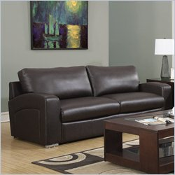 Monarch Bonded Leather Sofa in Dark Brown