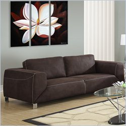 Monarch Contrast Micro Suede Sofa in Chocolate Brown and Tan