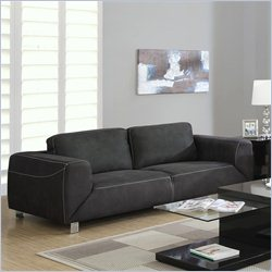 Monarch Contrast Micro Suede Sofa in Charcoal Gray