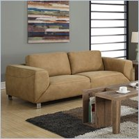 Contrast Micro Suede Sofa In Tan