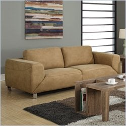 Monarch Contrast Micro Suede Sofa in Tan and Chocolate Brown