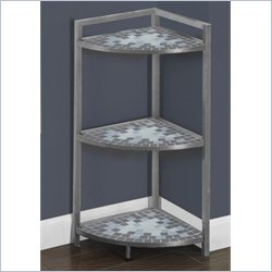 Monarch 30 inch Corner Etagere in Hammered Silver