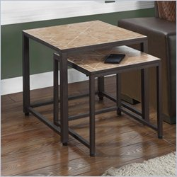 Monarch Nesting Tables in Hammered Brown (Set of 2)