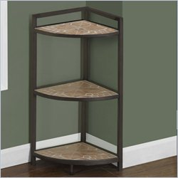Monarch 30 inch Corner Etagere in Hammered Brown