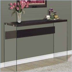 Monarch Hollow-Core Sofa Table in Cappuccino with Tempered Glass